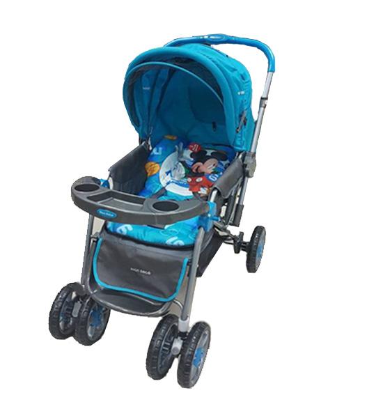 poussette reversible mickey bleu mon bebe king jouet maroc. Black Bedroom Furniture Sets. Home Design Ideas